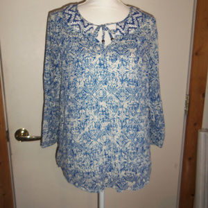 Lucky Brand Floral Tie Neck Top M